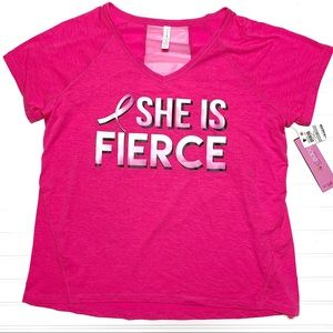 "Ideology sz 1X ""She is Fierce"" pink shirt"